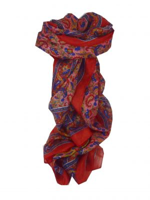Mulberry Silk Traditional Long Scarf Cala Red by Pashmina & Silk