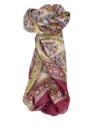 Mulberry Silk Traditional Square Scarf Hindon Wine by Pashmina & Silk