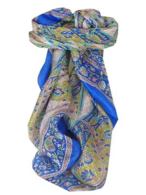 Mulberry Silk Traditional Square Scarf Hindon Blue by Pashmina & Silk