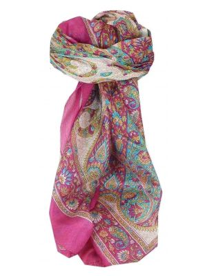 Mulberry Silk Traditional Square Scarf Hindon Cerise by Pashmina & Silk