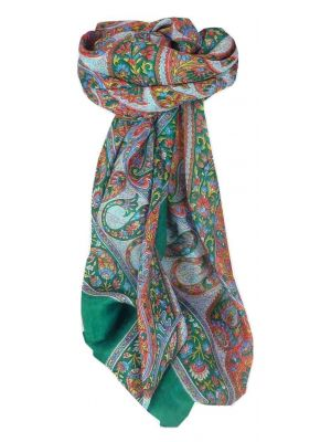Mulberry Silk Traditional Square Scarf Hindon Teal by Pashmina & Silk
