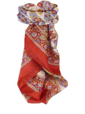Mulberry Silk Traditional Square Scarf Hindon Red by Pashmina & Silk