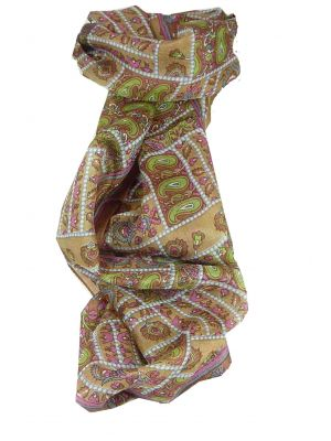 Mulberry Silk Traditional Long Scarf Chenab Caramel by Pashmina & Silk