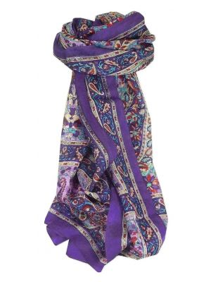Mulberry Silk Traditional Long Scarf Purna Violet by Pashmina & Silk