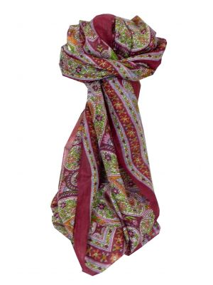 Mulberry Silk Traditional Long Scarf Hoogli Wine by Pashmina & Silk
