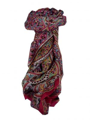 Mulberry Silk Traditional Long Scarf Celisa Fuchsia by Pashmina & Silk
