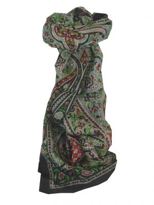 Mulberry Silk Traditional Long Scarf Celisa Black by Pashmina & Silk