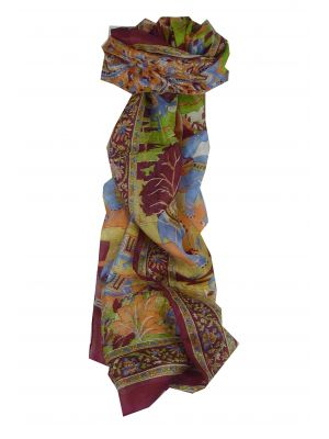 Mulberry Silk Traditional Long Scarf Bahan Red by Pashmina & Silk