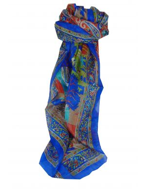 Mulberry Silk Traditional Long Scarf Bahan Blue by Pashmina & Silk