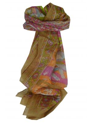 Mulberry Silk Traditional Long Scarf Bahan Chestnut by Pashmina & Silk