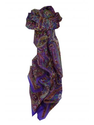 Mulberry Silk Traditional Long Scarf Diya Violet by Pashmina & Silk