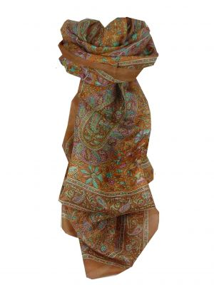 Mulberry Silk Traditional Long Scarf Daksha Chestnut by Pashmina & Silk
