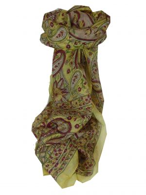 Mulberry Silk Traditional Long Scarf Chamba Cream by Pashmina & Silk
