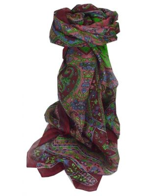 Mulberry Silk Traditional Long Scarf Chamelia Wine by Pashmina & Silk