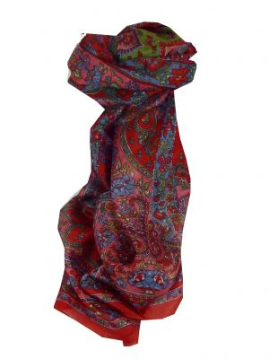 Mulberry Silk Traditional Long Scarf Chamelia Red by Pashmina & Silk