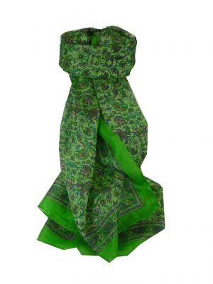 Mulberry Silk Traditional Long Scarf Charu Lime by Pashmina & Silk