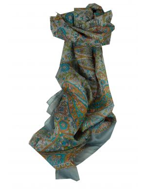Mulberry Silk Traditional Long Scarf Baira Grey by Pashmina & Silk