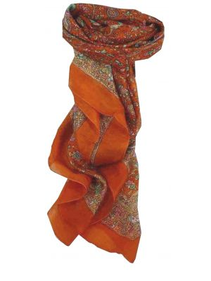 Mulberry Silk Traditional Square Scarf Kalpi Terracotta by Pashmina & Silk