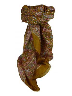 Mulberry Silk Traditional Square Scarf Kalpi Caramel by Pashmina & Silk