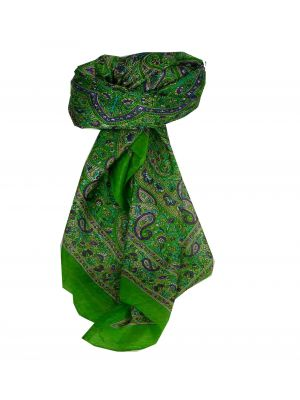 Mulberry Silk Traditional Square Scarf Kangra Lime by Pashmina & Silk