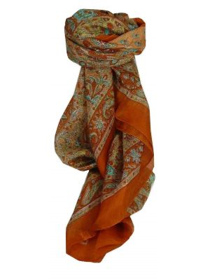 Mulberry Silk Traditional Square Scarf Kiara Terracotta by Pashmina & Silk