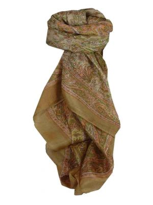 Mulberry Silk Traditional Square Scarf Kiara Sand by Pashmina & Silk