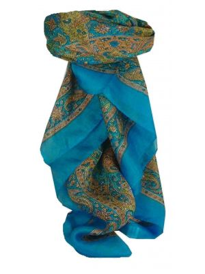 Mulberry Silk Traditional Square Scarf Kiara Aquamarine by Pashmina & Silk