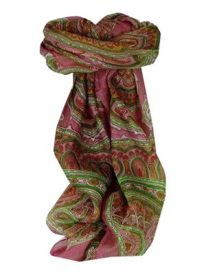 Mulberry Silk Traditional Square Scarf Jaya Pink by Pashmina & Silk