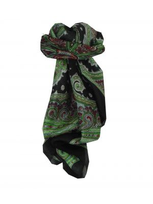 Mulberry Silk Traditional Square Scarf Jaya Black by Pashmina & Silk