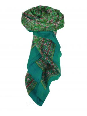 Mulberry Silk Traditional Square Scarf Jind Aquamarine by Pashmina & Silk