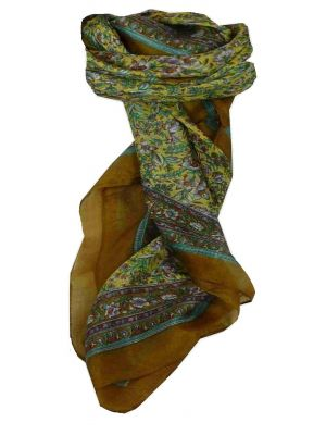 Mulberry Silk Traditional Square Scarf Jind Caramel by Pashmina & Silk