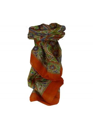 Mulberry Silk Traditional Square Scarf Juhu Orange by Pashmina & Silk