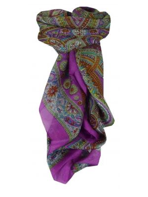 Mulberry Silk Traditional Square Scarf Juhu Purple by Pashmina & Silk