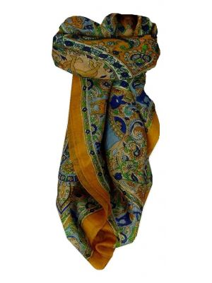 Mulberry Silk Traditional Square Scarf Kaladi Gold by Pashmina & Silk
