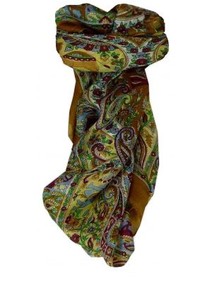 Mulberry Silk Traditional Square Scarf Kaladi Brown by Pashmina & Silk