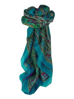 Mulberry Silk Traditional Square Scarf Kaladi Blue by Pashmina & Silk