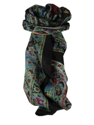 Mulberry Silk Traditional Square Scarf Kaladi Black by Pashmina & Silk