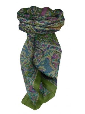 Mulberry Silk Traditional Square Scarf Kaladi Sage by Pashmina & Silk