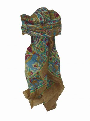 Mulberry Silk Traditional Square Scarf Kaladi Coffee by Pashmina & Silk
