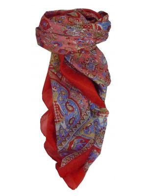 Mulberry Silk Traditional Square Scarf Donya Red by Pashmina & Silk