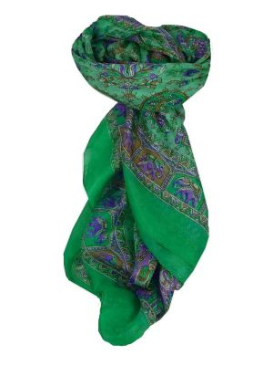 Mulberry Silk Traditional Square Scarf Donya Teal by Pashmina & Silk