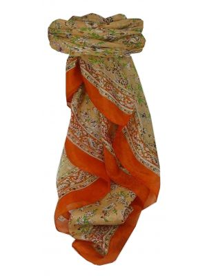 Mulberry Silk Traditional Square Scarf Ela Tangerine by Pashmina & Silk