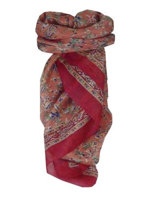 Mulberry Silk Traditional Square Scarf Ela Pink by Pashmina & Silk