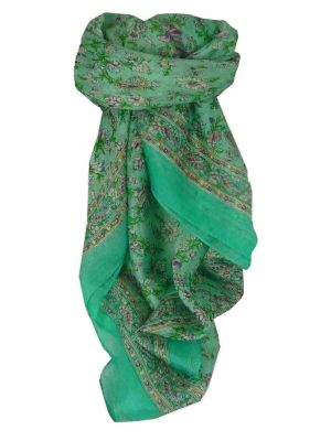 Mulberry Silk Traditional Square Scarf Ela Aquamarine by Pashmina & Silk