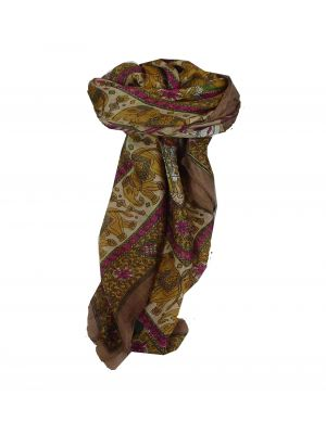 Mulberry Silk Traditional Square Scarf Farrin Coffee & Cerise by Pashmina & Silk