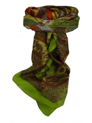 Mulberry Silk Traditional Square Scarf Farrin Citron Vert by Pashmina & Silk