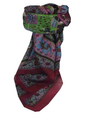 Mulberry Silk Traditional Square Scarf Farrin Wine by Pashmina & Silk