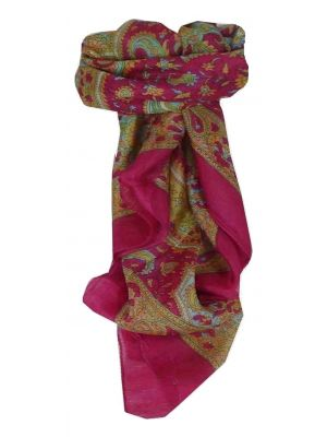 Mulberry Silk Traditional Square Scarf Firoza Pink by Pashmina & Silk