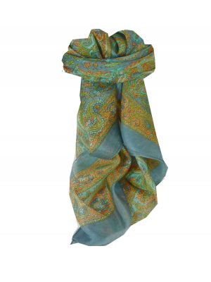 Mulberry Silk Traditional Square Scarf Firoza Grey by Pashmina & Silk