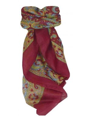 Mulberry Silk Traditional Square Scarf Firoza Wine by Pashmina & Silk